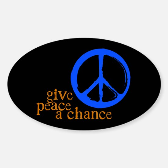 Give Peace a Chance - Blue & Orange Oval Decal