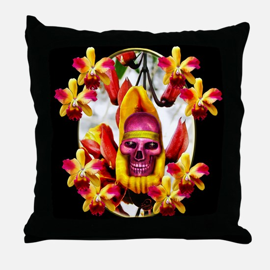 Playful skull framed by orchids. Throw Pillow