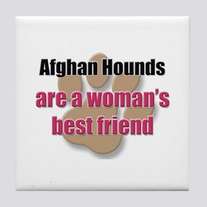 Afghan Hounds woman's best friend Tile Coaster