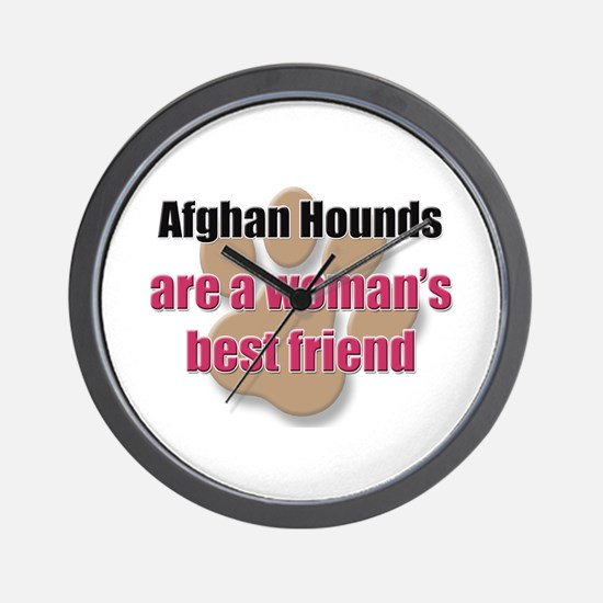 Afghan Hounds woman's best friend Wall Clock
