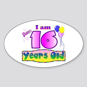Sweet 16 Birthday Oval Sticker