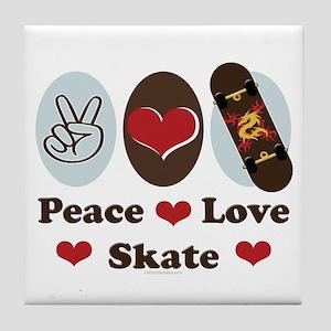 Peace Love Skate Skateboard Tile Coaster