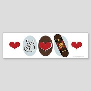 Peace Love Skate Skateboard Bumper Sticker