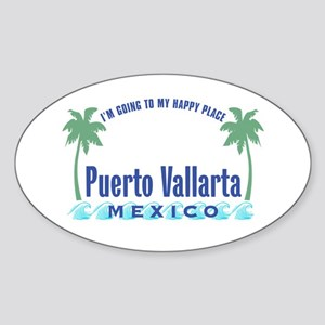 Puerto Vallarta Happy Place - Oval Sticker
