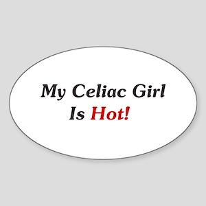 My Celiac Girl Is Hot! Oval Sticker