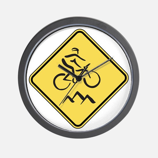 Caution: Mountain Biker Wall Clock