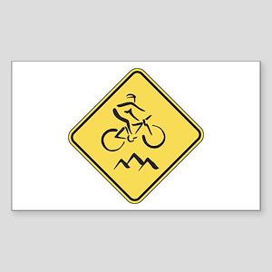Caution: Mountain Biker Rectangle Sticker