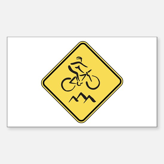 Caution: Mountain Biker Rectangle Decal