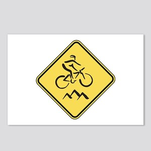 Caution: Mountain Biker Postcards (Package of 8)