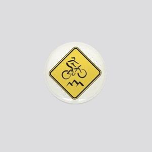 Caution: Mountain Biker Mini Button