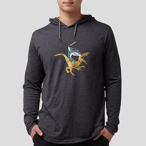 shark riding dino trex dinosau Long Sleeve T-Shirt