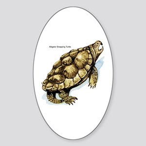 Alligator Snapping Turtle Oval Sticker