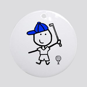 Boy & Golf Ornament (Round)