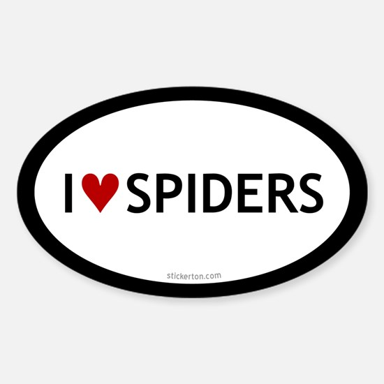 I Love Spiders Oval Decal