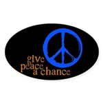 Give Peace a Chance - Blue & Orange Sticker (Oval