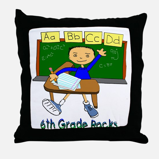 Student at Desk 6th Grade Throw Pillow