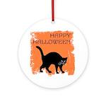 Halloween Black Cat Ornament (Round)