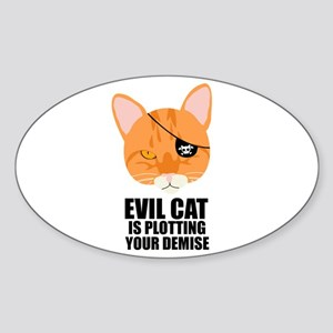 Pirate Cat Oval Sticker