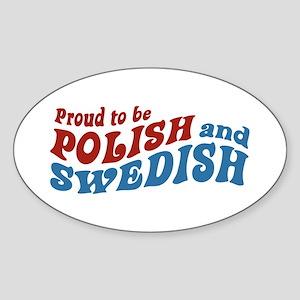 Proud Polish and Swedish Oval Sticker