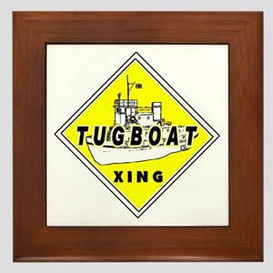 Tugboat Xing sign Framed Tile