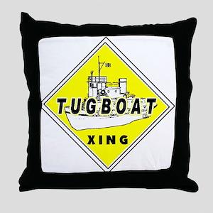 Tugboat Xing sign Throw Pillow