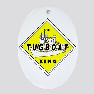 Tugboat Xing sign Oval Ornament