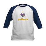 I heart Yorkiepoos Kids Baseball Jersey