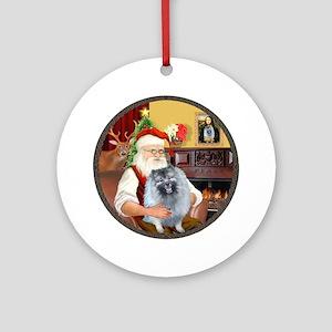Santa's Keeshond (F) Ornament (Round)