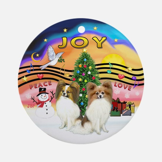 Xmusic2-Two Sable Papillons Ornament (Round)