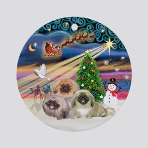 Xmas Magic - 3 Pekingese Ornament (Round)