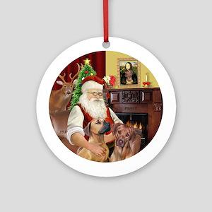 Santa's Two Rhodesian Ridgebacks Ornament (Round)