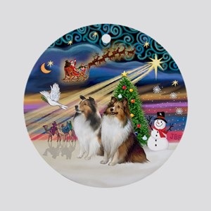Xmas Magic - Two Shelties (SW) Ornament (Round)