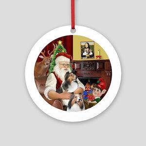 Santa's Two Shelties (D-L)Ornament (Round)
