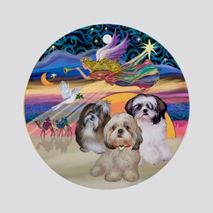 XmasStar-three Shih Tzus Ornament (Round)