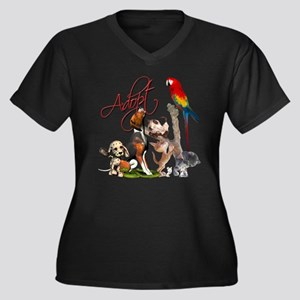 Adopt a Pet Women's Plus Size V-Neck Dark T-Shirt