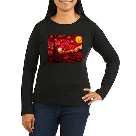 Fiery Night Women's Long Sleeve Dark T-Shirt