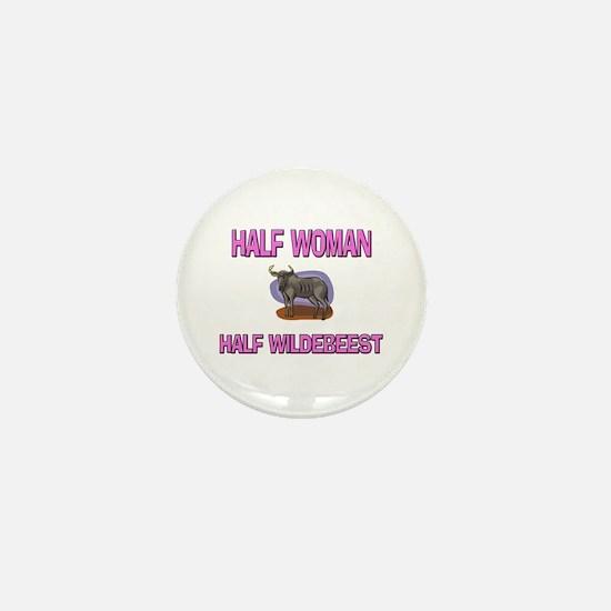 Half Woman Half Wildebeest Mini Button