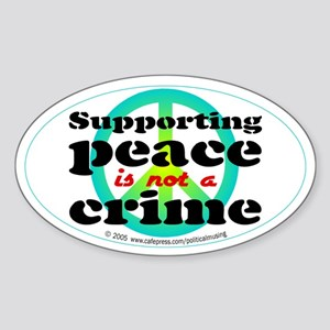 Supporting peace. Oval Sticker