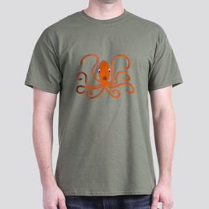Orange Octopus Dark T-Shirt