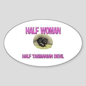 Half Woman Half Tasmanian Devil Oval Sticker