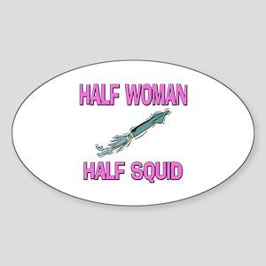 Half Woman Half Squid Oval Sticker