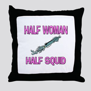Half Woman Half Squid Throw Pillow