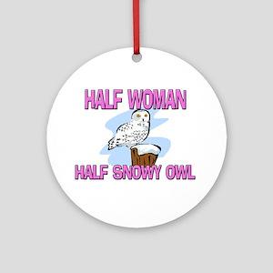 Half Woman Half Snowy Owl Ornament (Round)
