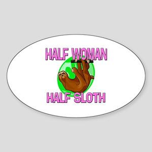 Half Woman Half Sloth Oval Sticker