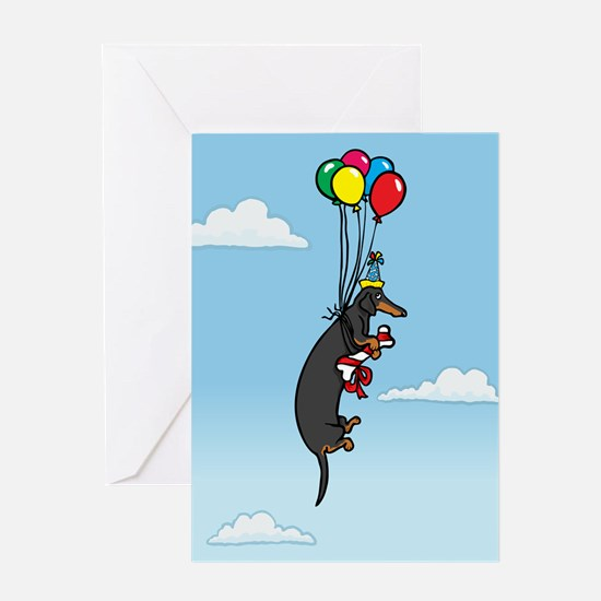Black Tan Birthday Weiner Dog Greeting Card