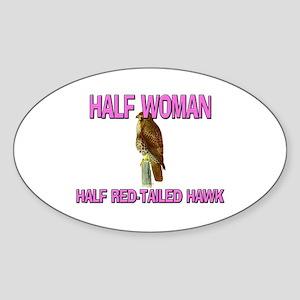 Half Woman Half Red-Tailed Hawk Oval Sticker