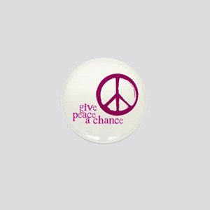 Give Peace a Chance - Pink Mini Button