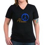 Give Peace a Chance - Blue & Orange Women's V-Neck