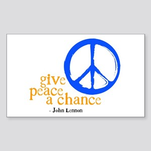 Give Peace a Chance - Blue & Orange Sticker (Recta