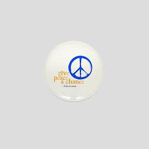 Give Peace a Chance - Blue & Orange Mini Button